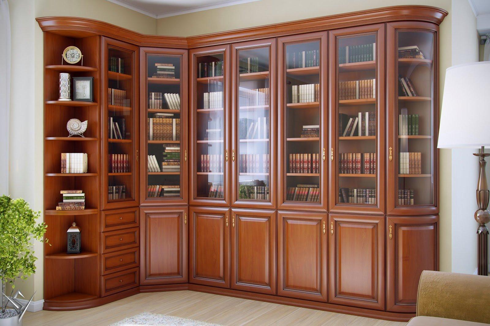 Классический угловой книжный шкаф стандарт..